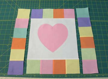 Heart block with top and bottom sewn but showing sides